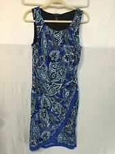 BEAUTIFUL BLUE PAISLY PRINT DRESS by INTERNATIONAL CONCEPTS size L
