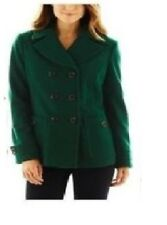 St Johns Bay Womens Pea Coat wool blend Classic solid green size L NEW