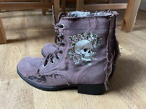 Ed Hardy - Raggedy Boots, Skull, Size 4.5 UK (Free postage)