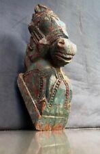 LARGE ANTIQUE/VINTAGE INDIAN WOODEN HORSE HEAD SCULPTURE. TEAL & CINNAMON c1850.