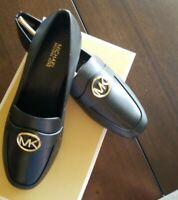 New Michael Kors Heather Signature Logo Flats Black Leather with Gold MK symbol