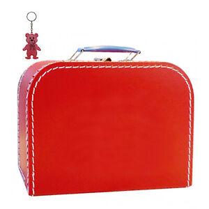 Kinderkoffer Pappe rot inkl. 1 Reflektorbär Spielzeugkoffer Spielkoffer