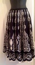 Black Ivory Silver Sequin Aztec Skirt Size 12 100% Cotton