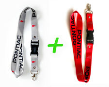 2x PONTIAC Lanyards 1 inch x 22 inch Key Chain ID Badge Cardholder Red/Gray