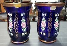 Pair of Mid 20th Century Czech Bohemia Cobalt Glass Gilded Hand Painted Vases