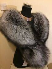 Real Silver Fox Fur Stole Wrap , Saga, New With Tags