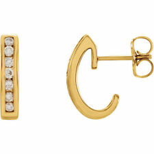 Diamond J-Hoop Earrings In 14K Yellow Gold (1/3 ct. tw