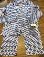 NWT Ellen Tracy 2 Piece Pajama Set Sz LARGE Red Blue Floral New