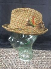 Vintage Berg 5th Avenue, wool, tweed hat with feather. Very nice. Size 7. Great