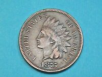 "NICE KEY X/F 1875 INDIAN HEAD CENT-NICE ""LIBERTY"" GREAT EYE APPEAL! FREE SHIP!"