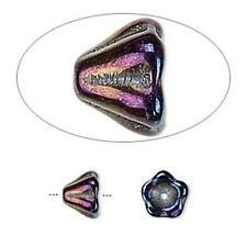3038 Cuentas checas de vidrio Cono de flor de Iris PK10 8mm * tienda eBay Reino Unido *