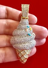 Men's 14K Gold Finish Iced Out 3D ICE CREAM CONE WITH SPRINKLES Pendant Charm Pc