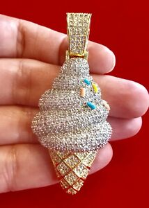Men's 14K Gold Finish 3D ICE CREAM CONE WITH SPRINKLES Pendant Charm Pc