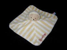 Doudou carré plat Hérisson ou Mouton beige blanc rayé jaune Sucre d'Orge