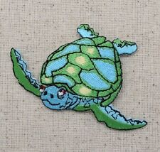 Large Sea Turtle - Blue/Green Facing Left - Iron on Applique/Embroidered Patch