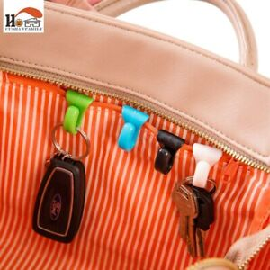 2 Pcs Colorful Small Built-in Bag Clip Prevention Lost Key Hook Holder Plastic