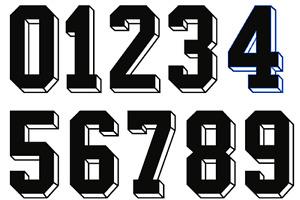 3D Felt Football Shirt Soccer Numbers Heat Print Football Vintage 70s 80s German