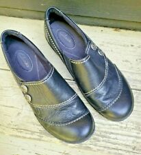 Clarks Black Leather Bendables Size 7 Medium Slip-on Pewter Buttons