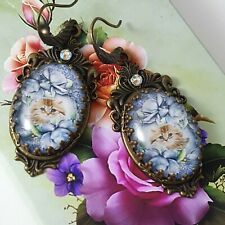 STUNNING UNIQUE COCKTAIL CATS BLUE ROSES VINTAGE STYLE BASE EARRINGS