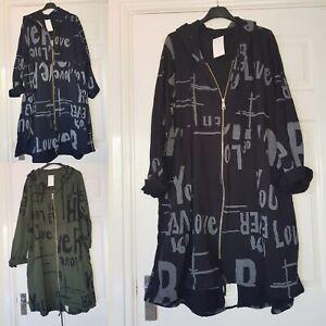New Ladies Women's Italian Lagenlook Hooded Oversize Cardigan Hoodie Plus Top