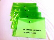 2 x A4 PLASTIC DOCUMENT WALLETS FOLDERS  POPPERS ENVELOPES GREEN