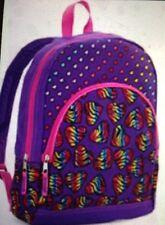 "New Girls Leopard Heart Print Zip Front Pocket Purple Backpack Bag 15"" US SELLER"