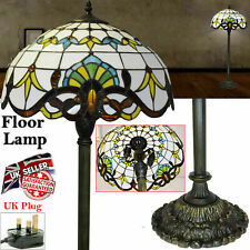 """Tiffany Antique Style Floor Lamp Stained Glass 16"""" Shade Handcrafted UK plug"""