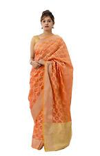 Orange Brocade Silk Indian Saree Blouse Party Wear Wedding Designer Bridal Sari