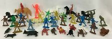 40 Vintage Cowboys & Indians + 2 Army Men Western Toy Plastic Action Figures Lot