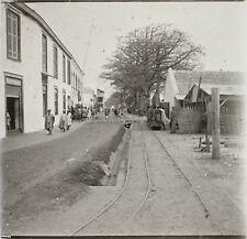 Gambie Train Chemin de Fer Afrique Photo Plaque Stereo D1 ca 1910