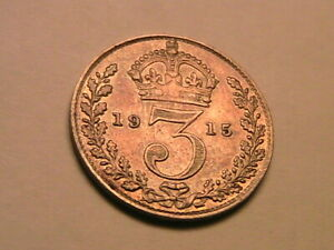 1915 Great Britain Threepence VF+/aXF Original Toning w Luster Silver 3P UK Coin