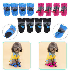 4Pcs Small Pet Dog Shoes Anti-Slip Puppy Rain Boots Footwear Booties Waterproof