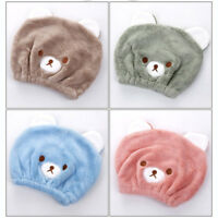 Kids Children Bear Turban Hair Wrap Towel Cap Hair Quickly Drying Bath Spa Hat