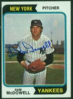 Original Autograph of Sam McDowell of the NY Yankees on a 1974 Topps Card