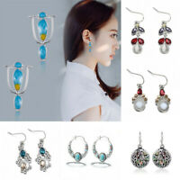 Lady 925 Silver Earrings Women Turquoise Gemstone Dangle Drop Hook Jewelry Gifts