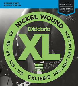 D'Addario EXL165-5 Bass Guitar 5 String Set. Gauge: 45-135