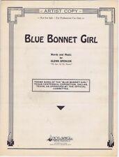 Blue Bonnet Girl, Theme Song of Texas Centennial Expo. 1936, Vintage Sheet Music