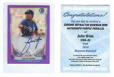 Julio Urias Autograph #08/50 Rookie 2014 Bowman Purple Mini Los Angeles Dodgers