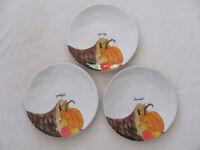 Rae Dunn -Thanksgiving Cornucopia Pumpkin- Set of 3 Dinner Plates - New