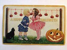 Halloween Postcard  Int'l Art Sailor outfitt boy curly hair girl apples Blk cat