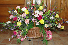 Mothers Day Cemetery Tombstone Saddle Wildflowers Sweetheart Rose Basket Spray