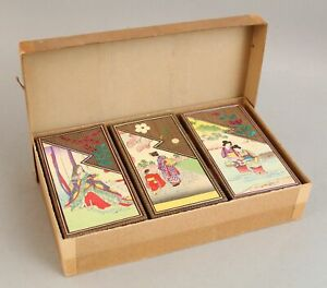 3 Antique 1900 Japanese Woodblock, Paper Chocolate Box Cut Applique 19thC Stamps