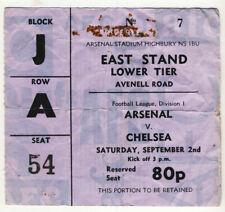 Ticket : Arsenal v Chelsea 2/9/1972