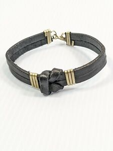 Artisan Silver Tone Black Leather Love Knot Bracelet 7.75 Inches
