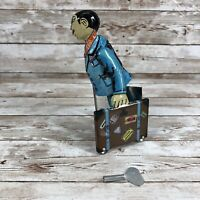 Tin Man Carrying 2 Suitcases Wind Up Reproduction Toy Vintage