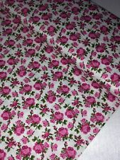 "1 Meter Off White/Pink Roses Print 100% Pure Cotton Fabric 45""Wide Dress Craft"