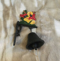 Vintage Cast Iron Bell BIRDS Dinner School Country Farm Ranch Farmhouse Rustic