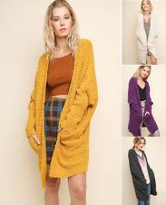 S M L UMGEE Long Cardigan Sweater Chunky Soft Knit Open Dolman Sleeve Oversized