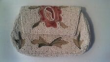 Vintage Cream Color Beaded Snap Clutch Purse W/ Hand Strap & Mirrow Inside