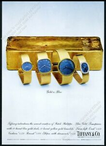 1969 Patek Philippe gold and blue watch 4 models photo vintage print ad